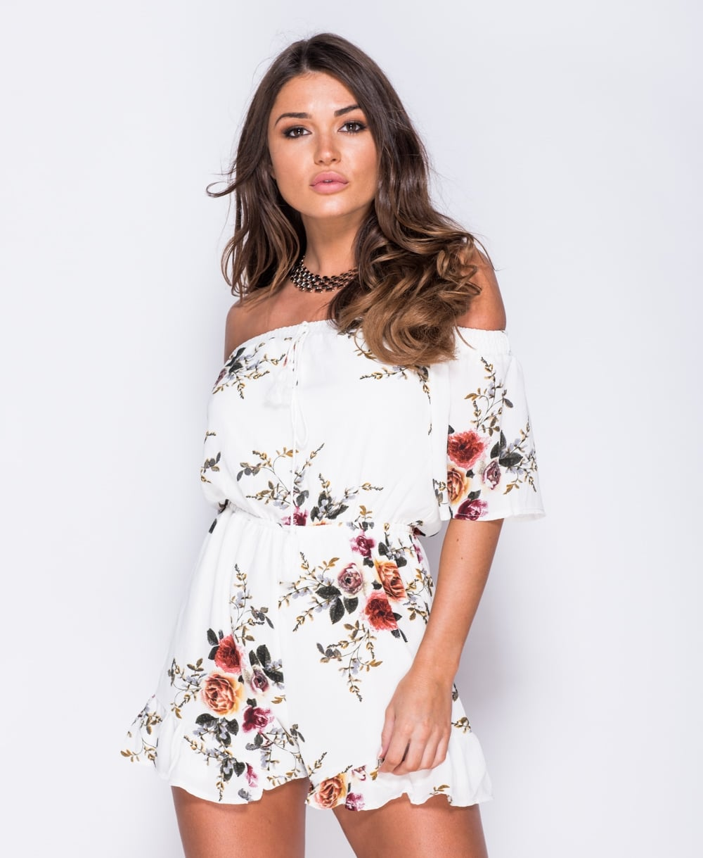 1c68fff5cf43 Floral Print Bardot Playsuit | Labels and Love