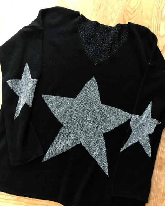 Black and silver star jumper