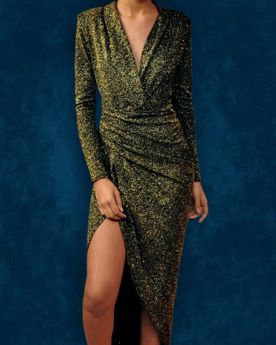 Gold wrap dress John Zack