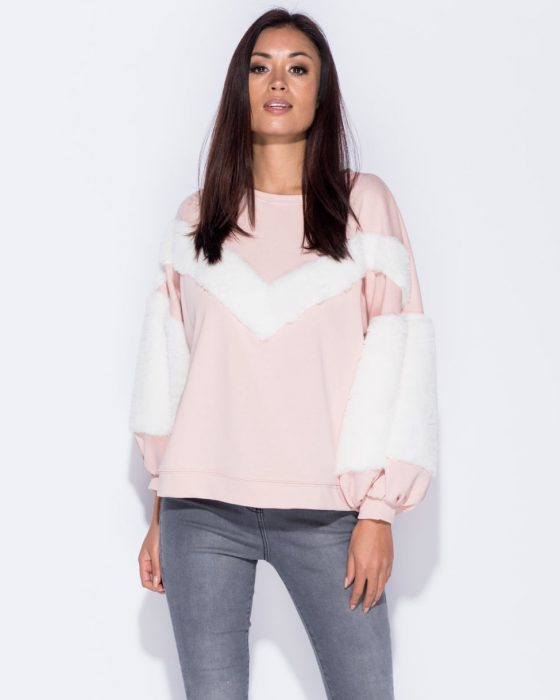 Pink faux fur trim sweatshirt