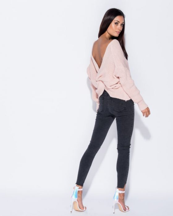 Pink twist back jumper