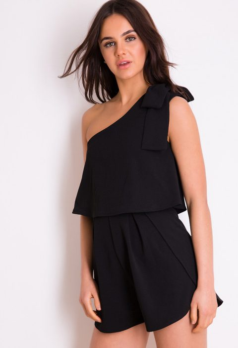 Black One Shoulder Playsuit