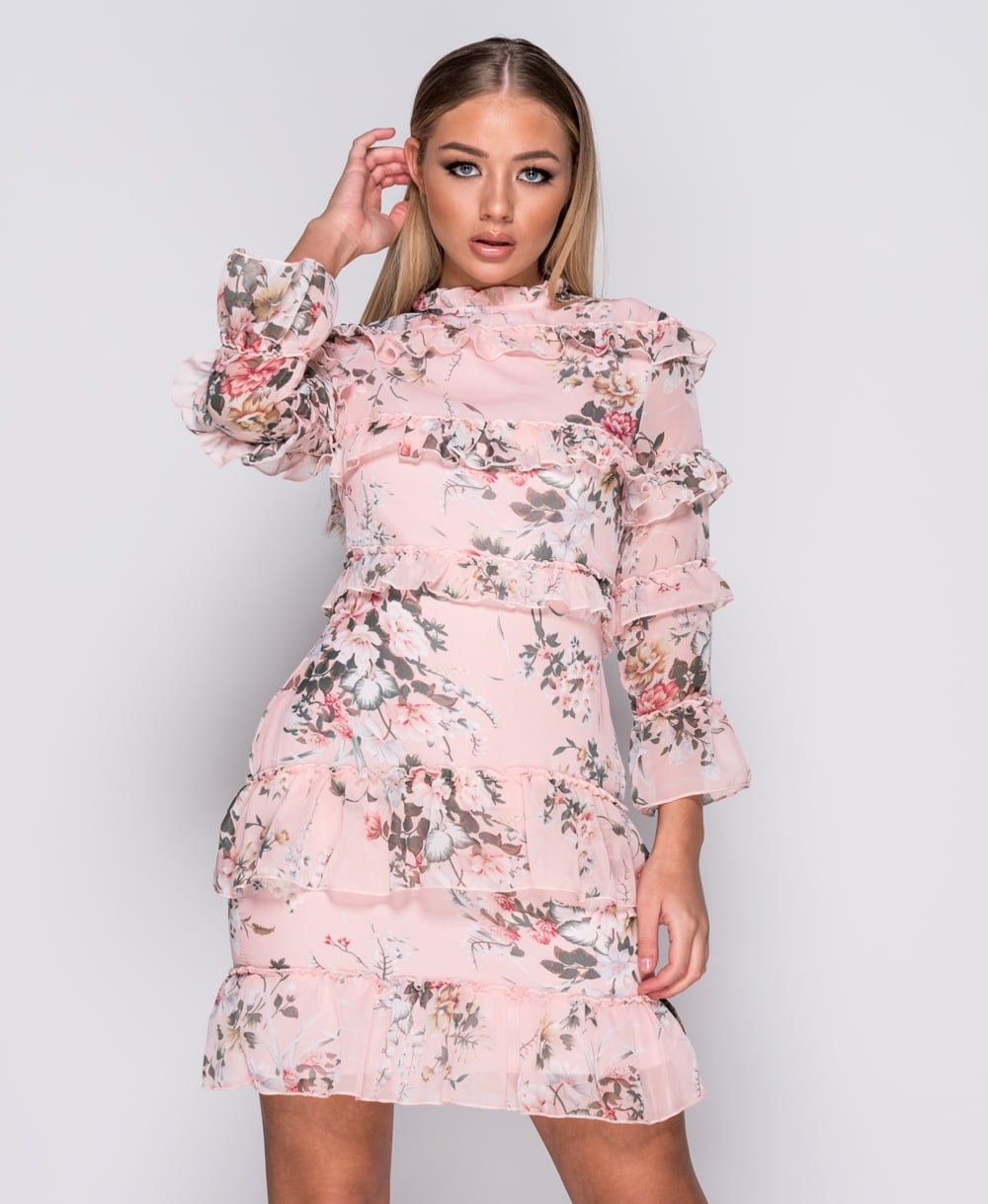 Pink Floral Frill Dress Labels And Love